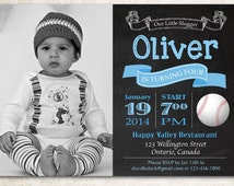 Baseball birthday invitation chalkboard. Baby boy birthday party invite any age. bday party invites with photo. Printable digital DIY.