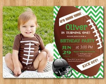 Football birthday invitation. Boy 1st first birthday party invite. Green, Blue, Grey Chevron, any color. Custom Photo. Printable digital DIY