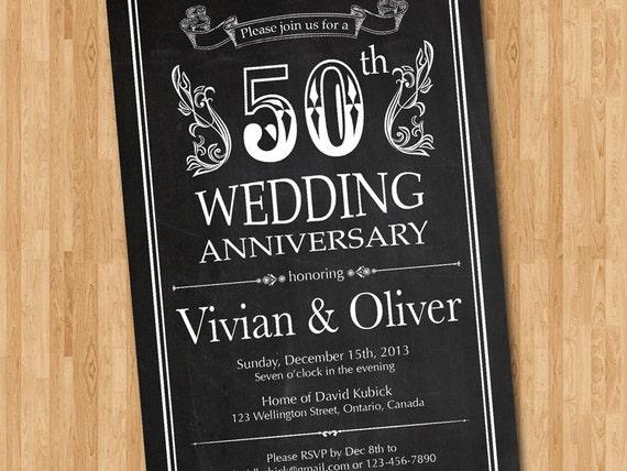 10th Wedding Anniversary Invitations: Chalkboard 50th Wedding Anniversary Invitation. 10th 20th 30th