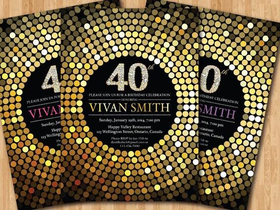 Exceptionnel invito compleanno 40 . Festa di compleanno Glitter oro FO82