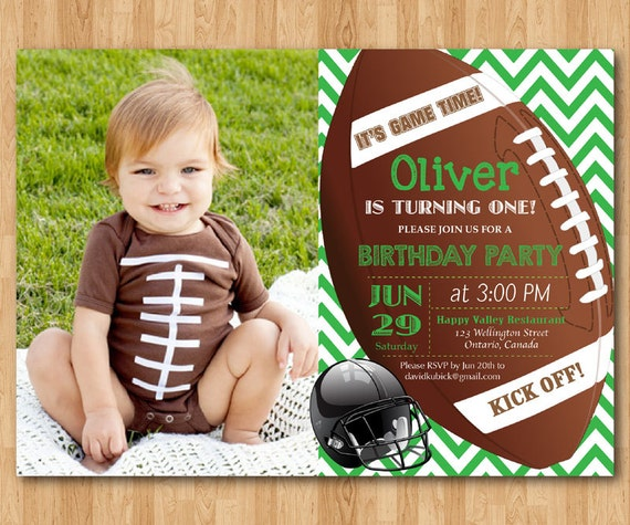 Personalised Boys First Birthday Card Bubbles By August: Football Birthday Invitation. Boy 1st First Birthday Party