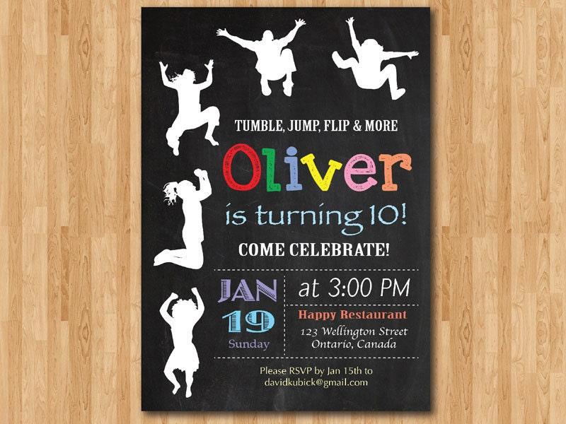 Jump Tumble Flip Chalkboard Trampoline Birthday Party