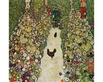 Klimt - Garden Path with Chickens beautiful fine art print in choice of sizes
