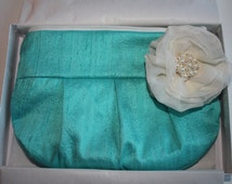 Bridesmaid Clutch Purse - Perfect Bridesmaid Gift - Blue/Aqua Clutch Purse with Ivory Stardust Flower Brooch