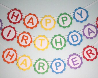 Custom Rainbow Birthday Party Banner