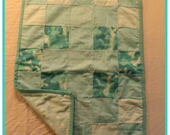 Turquoise Camo Baby Quilt
