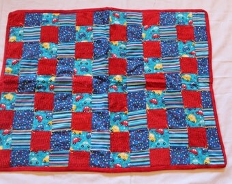 Red, yellow, blue Baby Boy Car Quilt