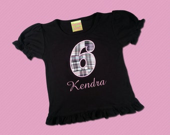 Girl's Birthday Shirt with Pink and Black Plaid Number and Embroidered Name