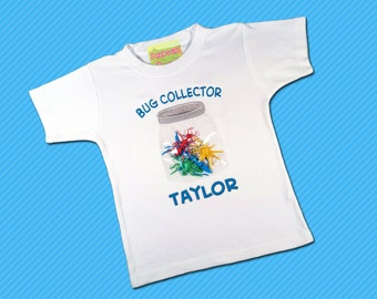 Boy's Bug Shirt with Plastic Bugs and Jar and Embroidered Name
