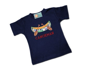 Boys Plaid Canoe Navy Blue Shirt with Embroidered Name