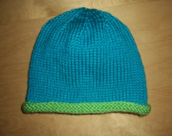 Knit Baby Hat - Simple Curl-up Hat - 6 Months
