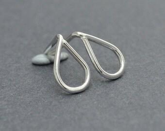 Tear Drop Stud, Sterling Silver, Post, Handmade, 20 gauge, Tear Drop Earrings
