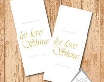 Gold Glitter Let Love Shine Wedding Sparkler Holder - Printable PDF - Instant Download