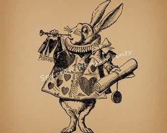 Vintage Art Herald White Rabbit Print Alice in Wonderland Antique Print with Antique Aged Paper Style Background No.1324 B1 8x8 8x10 11x14