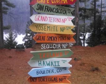 Custom handcrafted destination sign post