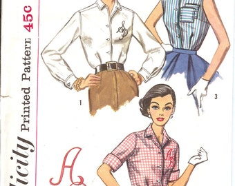 Simplicity 2195  Sewing Pattern  1930's Misses' and Woman's Blouse  ID544