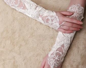 Bridal Gloves, Ivory Long Fingerless Lace Beaded Gloves, Bridal Glove,  Wedding Gloves, Wedding Accessory BG0026IVY