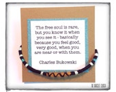 "Adventure Friendship Bracelet and Quote - ""Free Soul"" - made with alpaca, merino, and cotton"