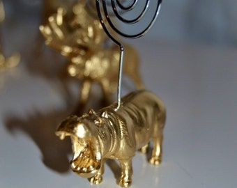 gold animal placecard holders