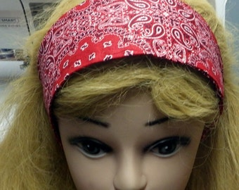 Red Bandana Headband, Pinup Girl Headband, Retro Style Head Piece, Red Bandana