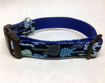 Blue Rock and Roll Guitar Dog Collar