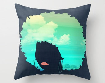 Afro Throw Pillow with Insert