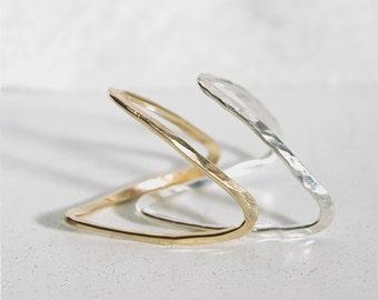 thumb ring - ring - V ring - chevron ring - thumb - Silver v ring - mid knuckle - silver thumb ring - gold thumb ring - thumb ring gold