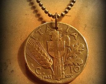 coin necklace. Italia. 10 centesimo. 1941