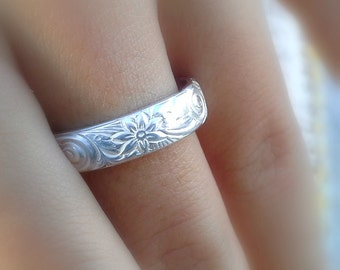 Hawaiian Ring Jewelry Wedding Band Flower Wide Silver