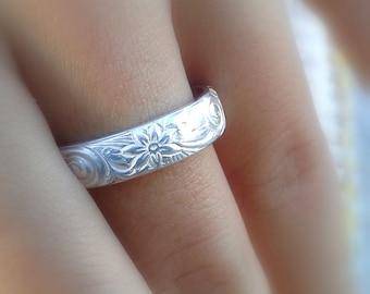 Hawaiian ring, Hawaiian jewelry, Wedding band, Hawaiian flower ring , Wide silver band, Hawaiian pair ring, 925 handmade ring, Solid silver