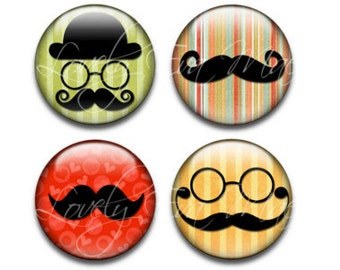 Mustache Magnets, Set of 4, Round Glass Magnets, Circle Refrigerator Magnets, Fridge Magnets