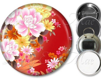 Japanese Floral Mirror, Floral Refrigerator Magnet, Bottle Opener Key Ring, Pin Back Button, Makeup Mirror, Red Orange and Yellow