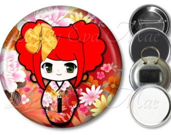Kokeshi Doll Pocket Mirror, Button Magnet, Bottle Opener Key Ring, Pin Back Button, Compact Mirror, Japanese, Oriental, Washi Anime Keychain