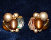 Vintage Beaded Neutral Clip-on Earrings