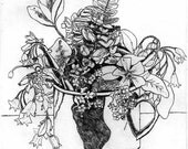 Flowers in a Cup   - Original Etching & Engraving, Hand-printed, Limited Edition
