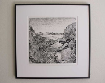 View From A Hill, Sausalito - Original Intaglio Etching & Engraving, Hand-printed