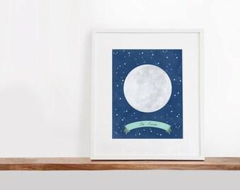 La Luna Printable Art, 8x10 inches, Nursery Art, The Moon Art Print, Constellation Art, Watercolor Art Print