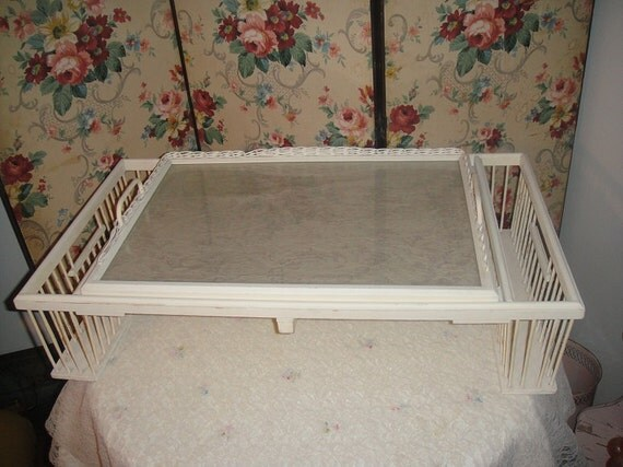 LARGE Antique White Wicker Adjustable Serving BED TRAY