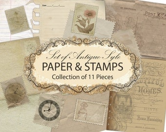 Digital Vintage Collage Sheet - Old Postcards Stamps Vintage Paper - INSTANT DOWNLOAD - Antique Postcard Old Paper - Digital Paper Set - PNG