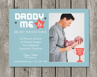 Daddy & Me Mini Session Template - Father's Day Marketing Board - Dad and Me Photography Flyer - MS08