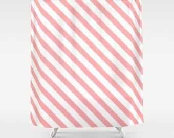 Shower Curtain - Pink Ikat Stripes - Dorm Shower Curtain - Teen Shower Curtain - Girls Shower Curtain - Pink Shower Curtain - Pink Stripes