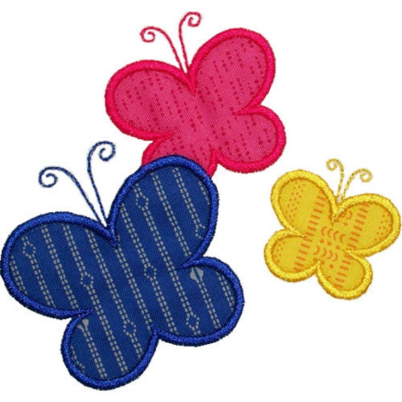 Butterflies applique embroidery machine design by
