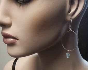 Aqua Gemstone Hoops, Gold or Sterling Silver, Long Hoop Earrings, Forged by LisaJStudioJeweler.