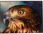 RESERVED Red Tailed Hawk Painting on Canvas - Acrylic 18x24 - Framed/Ready to hang