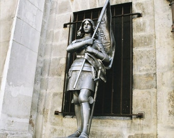 Title: Joan of Arc Paris Statue, Medieval Armor, Female Warrior, Joan of Arc, Paris Photography, Paris Statue