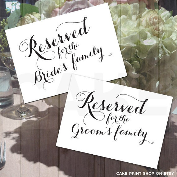 Printable reserved sign calligraphy wedding signs bride and