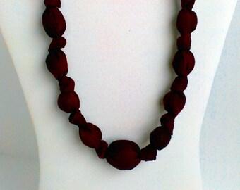 Merlot Fabric Necklace, Nursing Necklace, Statement Necklace, Teething Necklace