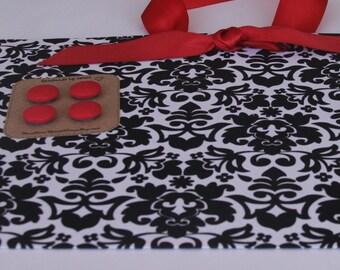 "Magnetic Board (18"" x 12"")  Fabric Magnet Board Black & Cream Damask, Photo Display, Memo board, Organization, Magnetic Bulletin Board"