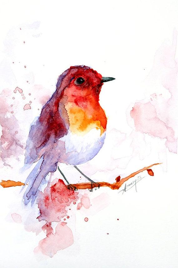 Famoso Pittura ad acquerello acquerello uccello dipinto uccelli arte SZ17