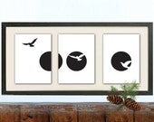 Wall Art Print , Black & white Full moon print, Birds, Living Room Art Print, Retro Art, Minimalistic art, Dorm Decor, Set of 3 prints